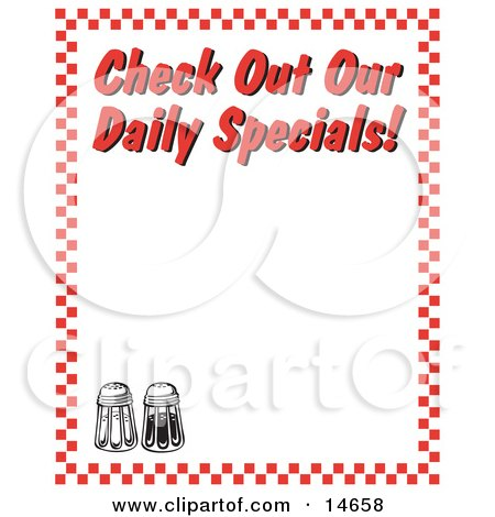 "Salt And Pepper Shakers And Text Reading ""Check Out Our Daily Specials!"" Borderd By Red Checkers Clipart Illustration by Andy Nortnik"