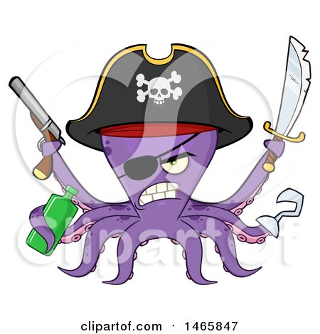 Clipart of a Tough Purple Pirate Octopus Holding a Bottle, Sword and Pistol - Royalty Free Vector Illustration by Hit Toon