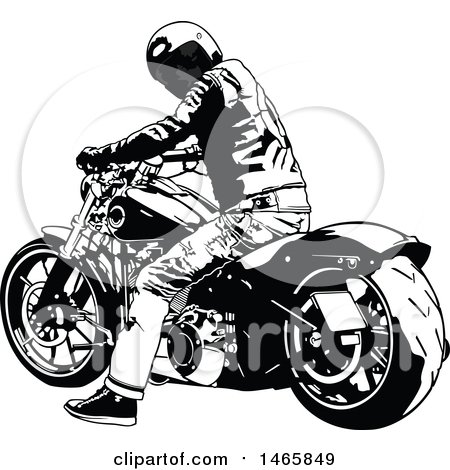 Clipart of a Motorocyclist on a Harley, Resting and Looking Back - Royalty Free Vector Illustration by dero