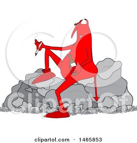 Clipart of a Cartoon Crossfaded Devil Smoking a Joint and Holding a Bottle of Alcohol While Sitting on a Boulder - Royalty Free Vector Illustration by djart