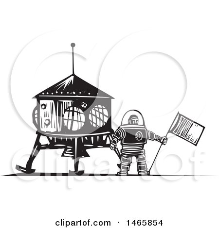 Clipart of a Male Astronaut Holding a Flag by a Shuttle, in Black and White Woodcut Style - Royalty Free Vector Illustration by xunantunich