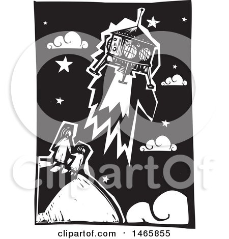 Clipart of a Steampunk Space Shuttle over a Mother and Child on Earth, in Black and White Woodcut Style - Royalty Free Vector Illustration by xunantunich