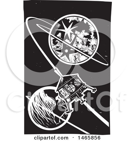 Clipart of a Steampunk Space Shuttle Orbiting Earth, in Black and White Woodcut Style - Royalty Free Vector Illustration by xunantunich