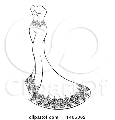 Clipart of a Black and White Wedding Gown - Royalty Free Vector Illustration by AtStockIllustration