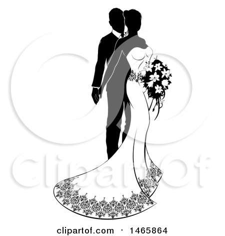 Clipart of a Black and White Silhouetted Posing Wedding Bride and Groom with a Bouquet - Royalty Free Vector Illustration by AtStockIllustration
