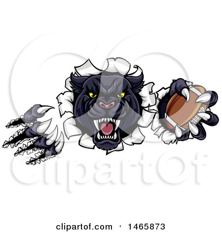 Clipart of a Vicious Roaring Black Panther Mascot Shredding Through a Wall with a Football - Royalty Free Vector Illustration by AtStockIllustration