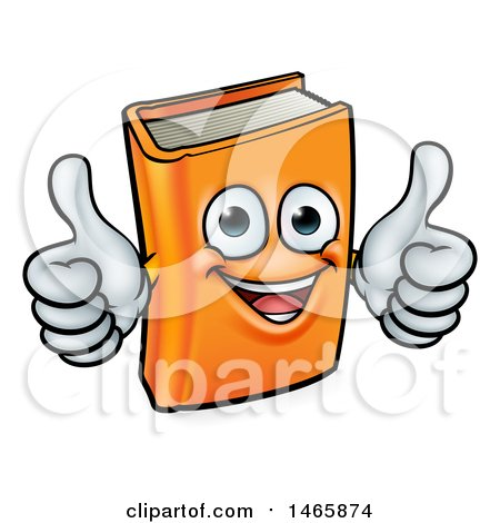 Clipart of a Happy Book Character Mascot Giving Two Thumbs up - Royalty Free Vector Illustration by AtStockIllustration