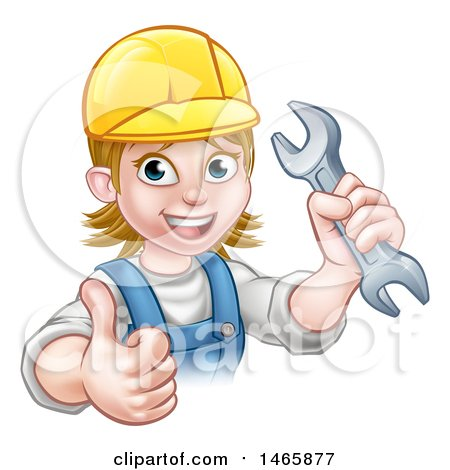 Cartoon Happy White Female Mechanic Wearing a Hard Hat, Holding up a Wrench and Giving a Thumb up Posters, Art Prints