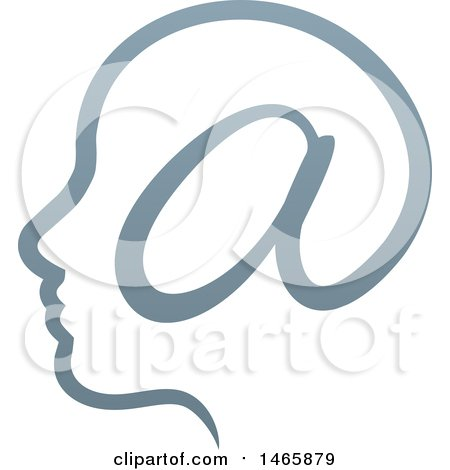 Clipart of a Profiled Head with an Email Arobase at Symbol - Royalty Free Vector Illustration by AtStockIllustration