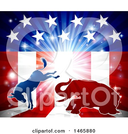 Clipart of a Silhouetted Political Democratic Donkey and Republican Elephant Fighting over an American Design and Burst - Royalty Free Vector Illustration by AtStockIllustration