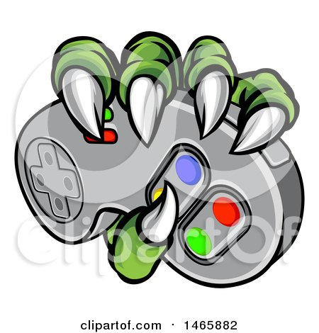 Clipart of Green Monster Claws Gripping a Video Game with a Controller - Royalty Free Vector Illustration by AtStockIllustration