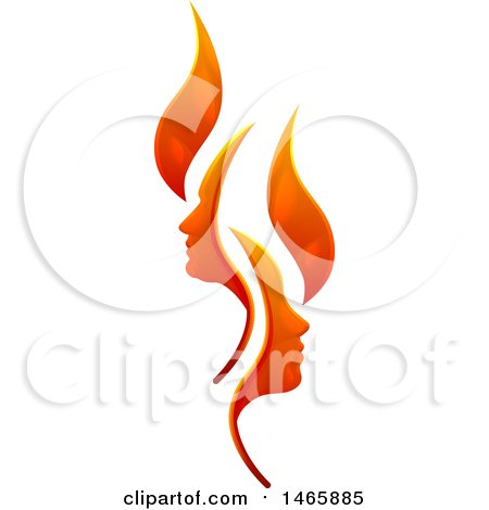 Clipart of a Flame Design with Profiled Faces - Royalty Free Vector Illustration by AtStockIllustration
