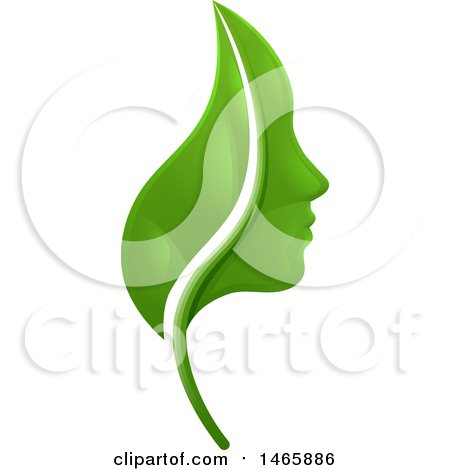 Clipart of a Green Leaf and Profiled Face - Royalty Free Vector Illustration by AtStockIllustration