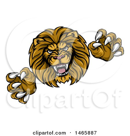 Clipart of a Male Lion Attacking - Royalty Free Vector Illustration by AtStockIllustration