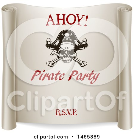 Clipart of a Ahoy Pirate Party Scroll Design - Royalty Free Vector Illustration by AtStockIllustration