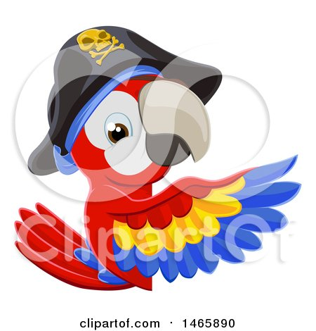 Clipart of a Scarlet Macaw Pirate Parrot Pointing Around a Sign - Royalty Free Vector Illustration by AtStockIllustration