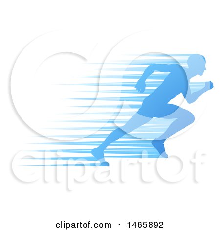 Clipart of a Silhouetted Male Runner Sprinting with Blue Speed Lines - Royalty Free Vector Illustration by AtStockIllustration