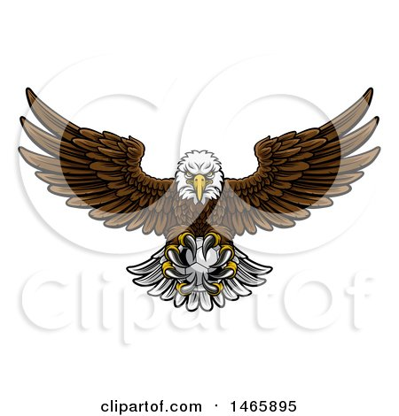 Clipart of a Cartoon Swooping American Bald Eagle with a Soccer Ball in His Talons - Royalty Free Vector Illustration by AtStockIllustration