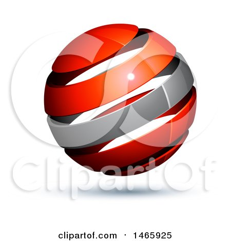 Clipart of a 3d Silver and Red Globe - Royalty Free Vector Illustration by beboy