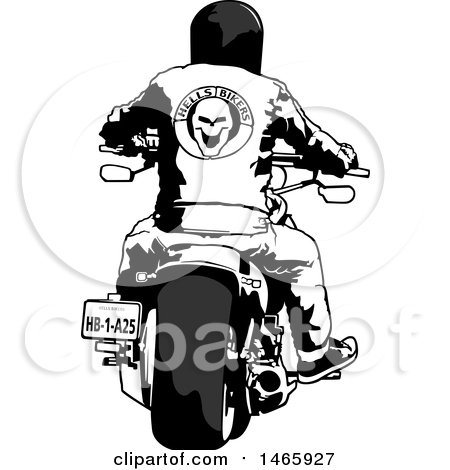 Clipart Of A rear view of a biker on a motorcycle - Royalty Free Vector Illustration by dero