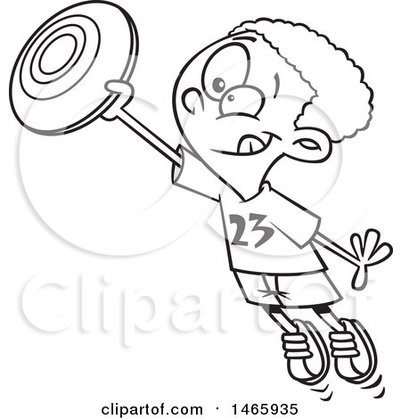 Clipart of a Cartoon Lineart Boy Catching a Frisbee - Royalty Free Vector Illustration by toonaday