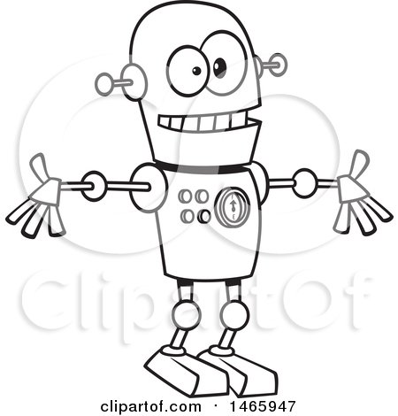 Clipart of a Cartoon Lineart Welcoming Robot - Royalty Free Vector Illustration by toonaday