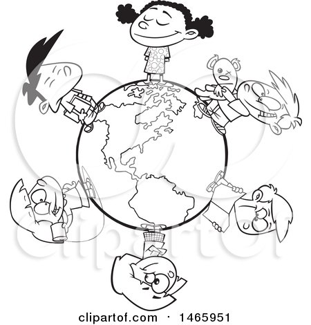 Clipart of a Cartoon Lineart Circle of Children on a Small World - Royalty Free Vector Illustration by toonaday