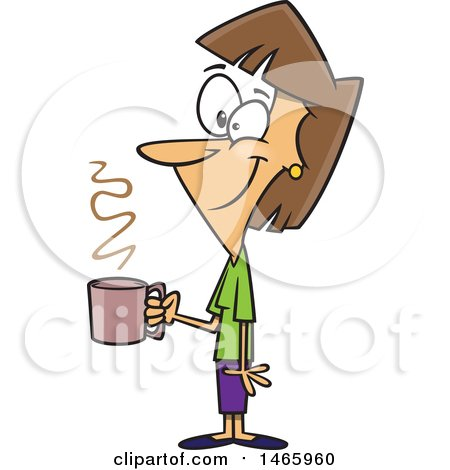 Cartoon Happy Woman Holding a Cup of Coffee on a Break Posters, Art Prints