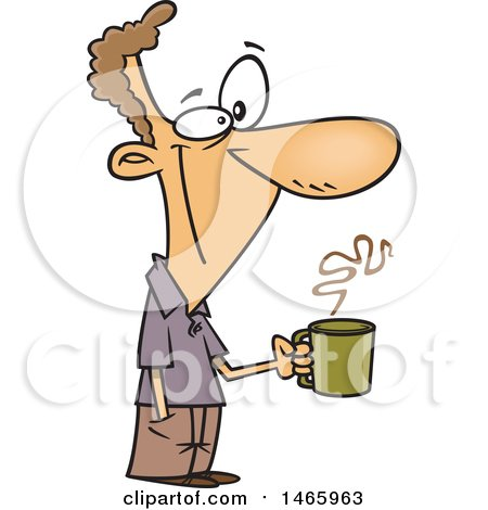 Clipart of a Cartoon Happy White Man Holding a Coffee Cup on a Break - Royalty Free Vector Illustration by toonaday