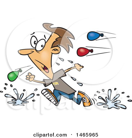 Clipart of a Cartoon White Man Retreating from a Water Balloon Fight - Royalty Free Vector Illustration by toonaday