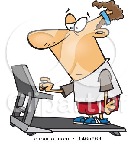 Clipart of a Cartoon Unenthused White Man Setting a Treadmill for a Workout - Royalty Free Vector Illustration by toonaday