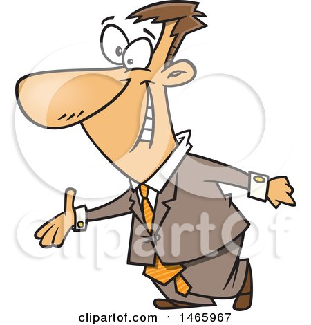 Clipart of a Cartoon Welcoming White Business Man Holdig out a Hand - Royalty Free Vector Illustration by toonaday