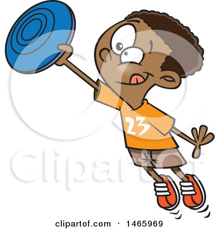 Clipart of a Cartoon Black Boy Catching a Frisbee - Royalty Free Vector Illustration by toonaday