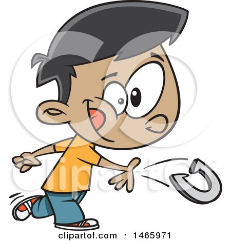 Clipart of a Cartoon Boy Boy Playing Horseshoes - Royalty Free Vector Illustration by toonaday
