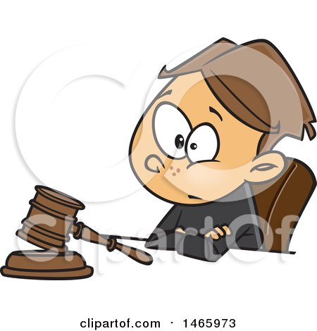 Clipart of a Cartoon White Boy Judge Sitting with a Gavel - Royalty Free Vector Illustration by toonaday