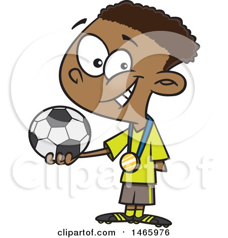 Clipart of a Cartoon Black Boy Soccer Champion Holding a Ball - Royalty Free Vector Illustration by toonaday