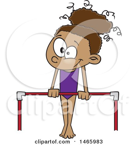 Clipart of a Cartoon Black Gymnast Girl on a Horizontal Bar - Royalty Free Vector Illustration by toonaday