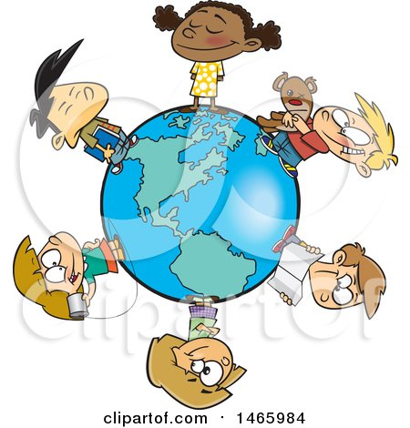 Clipart of a Cartoon Circle of Children on a Small World - Royalty Free Vector Illustration by toonaday