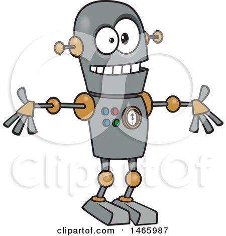 Clipart of a Cartoon Welcoming Robot - Royalty Free Vector Illustration by toonaday
