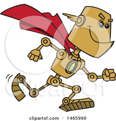 Clipart of a Cartoon Super Hero Robot - Royalty Free Vector Illustration by toonaday