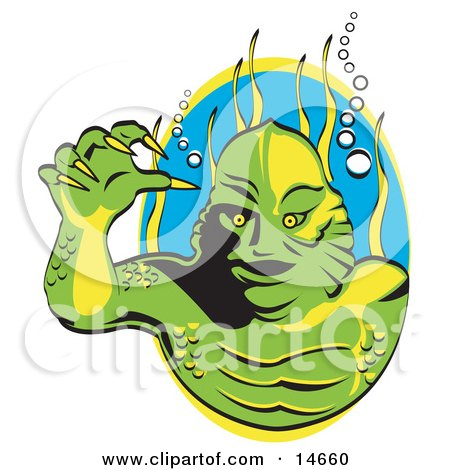 Green Swamp Monster With Yellow Talons And Scaly Skin, Breathing Underwater With Bubbles And Aquatic Plants Clipart Illustration by Andy Nortnik