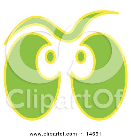 Pair of Green and Yellow Ghost Eyes Glowing Clipart Illustration by Andy Nortnik