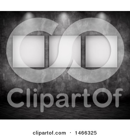 Clipart of a Concrete Wall with Blank Pictures Under Lights - Royalty Free Illustration by KJ Pargeter