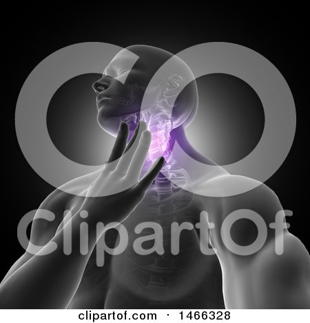 Clipart of a 3d Medical Anatomical Male with Visible Neck Vertibrae and Throat Pain, on Black - Royalty Free Illustration by KJ Pargeter
