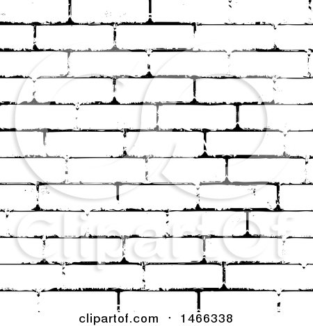 Clipart of a Black and White Brick Wall Texture - Royalty Free Vector Illustration by KJ Pargeter