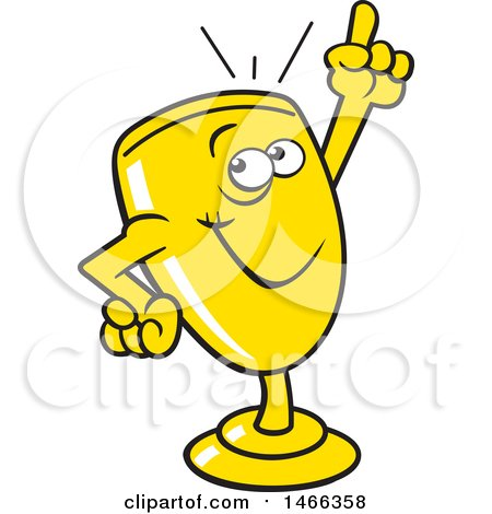 Clipart of a Trophy Cup Character Holding up a Finger - Royalty Free Vector Illustration by Johnny Sajem