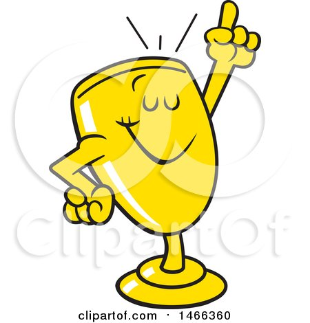 Clipart of a Trophy Cup Mascot Holding up a Finger - Royalty Free Vector Illustration by Johnny Sajem