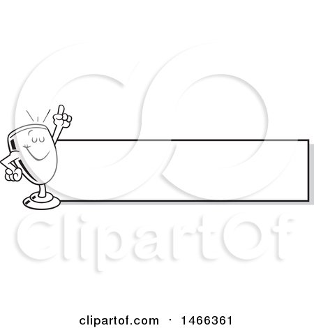 Clipart of a Black and White Trophy Cup Mascot Holding up a Finger by a Blank Banner - Royalty Free Vector Illustration by Johnny Sajem