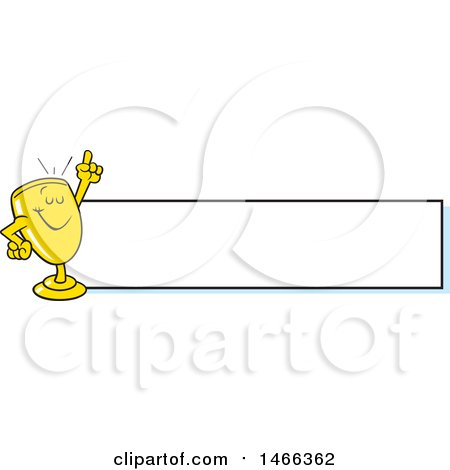 Clipart of a Trophy Cup Character Holding up a Finger by a Blank Banner - Royalty Free Vector Illustration by Johnny Sajem