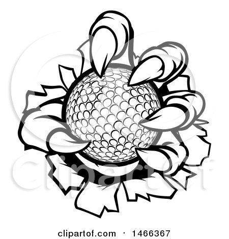 Clipart of Black and White Monster Claws Ripping Through Metal with a Golf Ball - Royalty Free Vector Illustration by AtStockIllustration